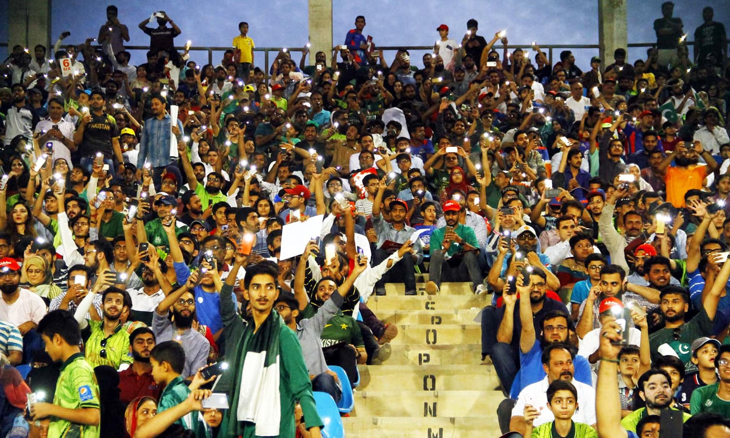 Crowd cheers before start of1st T20 match between Pakistan and West Indies. —APP