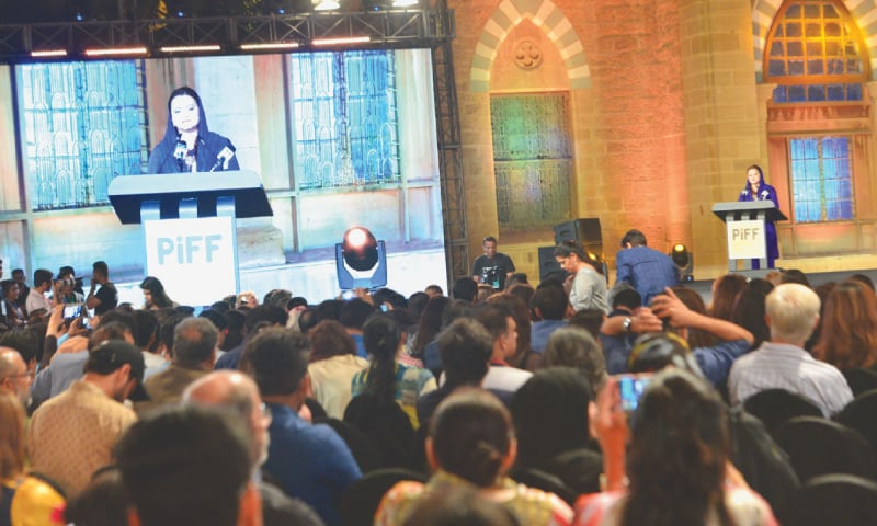 MINISTER of State for Information and Broadcasting Marriyum Aurangzeb speaks at the closing ceremony of the festival at Frere Hall on Sunday night. —Faysal Mujeeb / White Star