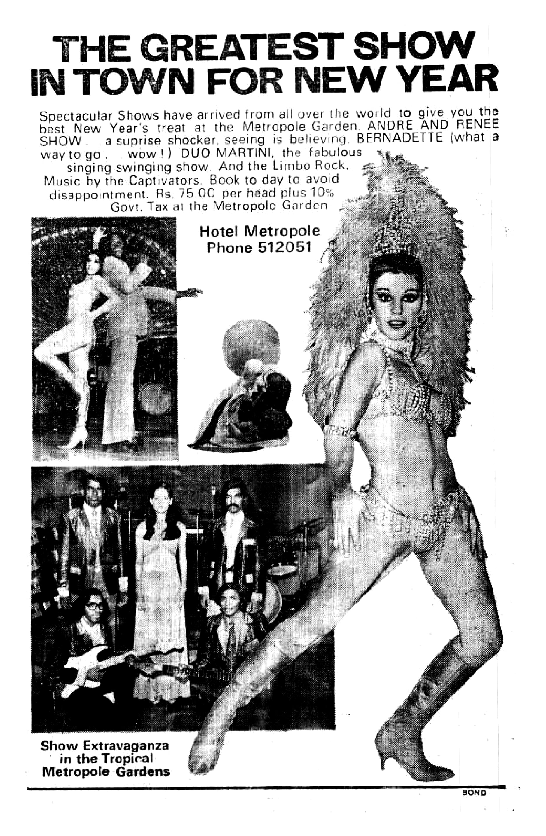 Advertisements for cabaret shows held at the Beach Luxury Hotel, Hotel Metropole and Palace Hotel were regularly published in Dawn in the fifties and sixties. Other hotels well-known for their cabaret shows included the InterContinental Hotel and The Excelsior. The performances went from classy sophistication to downright sleaze. Many of the performers came from Turkey, Lebanon and Russia. They toured various countries with their ensembles, giving nightly performances at pre-booked venues. Panna, featured in the above ad, was a Pakistani film star and dancer. She was the star attraction at Le Gourmet, which was possibly Karachi's first nightclub and was located on the ground floor of the Palace Hotel.