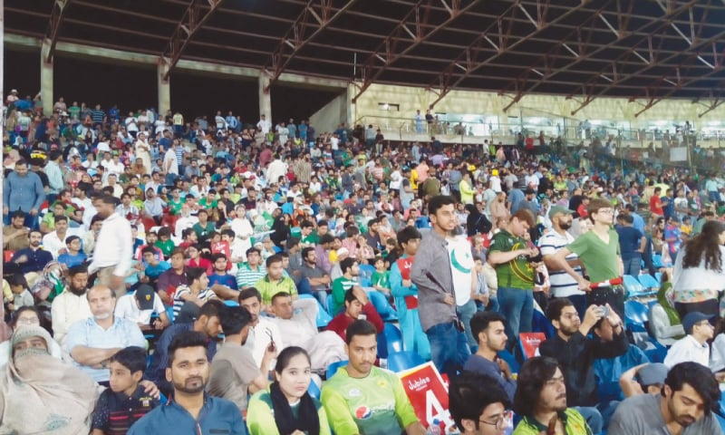 SPECTATORS enjoy the Pakistan-West Indies T20 action at the National Stadium.—Ibrahim Farooqi