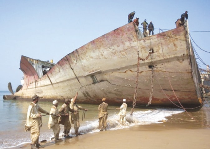Workers are seen at a shipbreaking yard in Gadani in this file photo. In the first assessment of the GSP+ scheme in 2016, the EU noted that implementation of ILO core standards remained a problem for all laws and policy areas in Pakistan. Only 340 labour inspectors cover entire Pakistan and they have been accused of corruption and of collusion.
