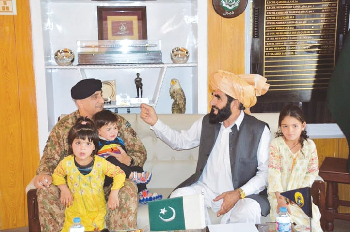 Chief of the Army Staff Gen Qamar Javed Bajwa meets the father of Naqeebullah Mehsud on Thursday.