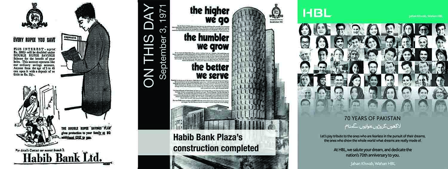 HBL ads from 1957, 1971 and 2017