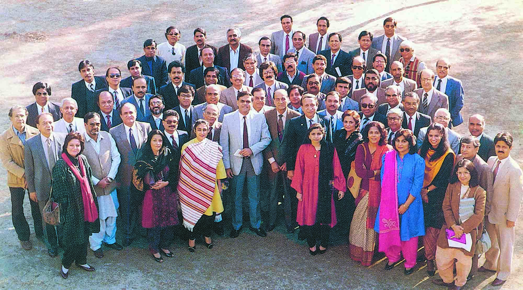 The Organising Committee of AdAsia 89 Pakistan. The 16th Asian Advertising Congress was organised in Lahore after Pakistan made a successful bid in Seoul in 1984 and won over Australia to host the event. Come 1989 and Pakistan played host to one of the most memorable AdAsias, despite the lack of conference and entertainment facilities. (photo: The Congress Handbook, AdAsia 89, and S.M. Shahid)