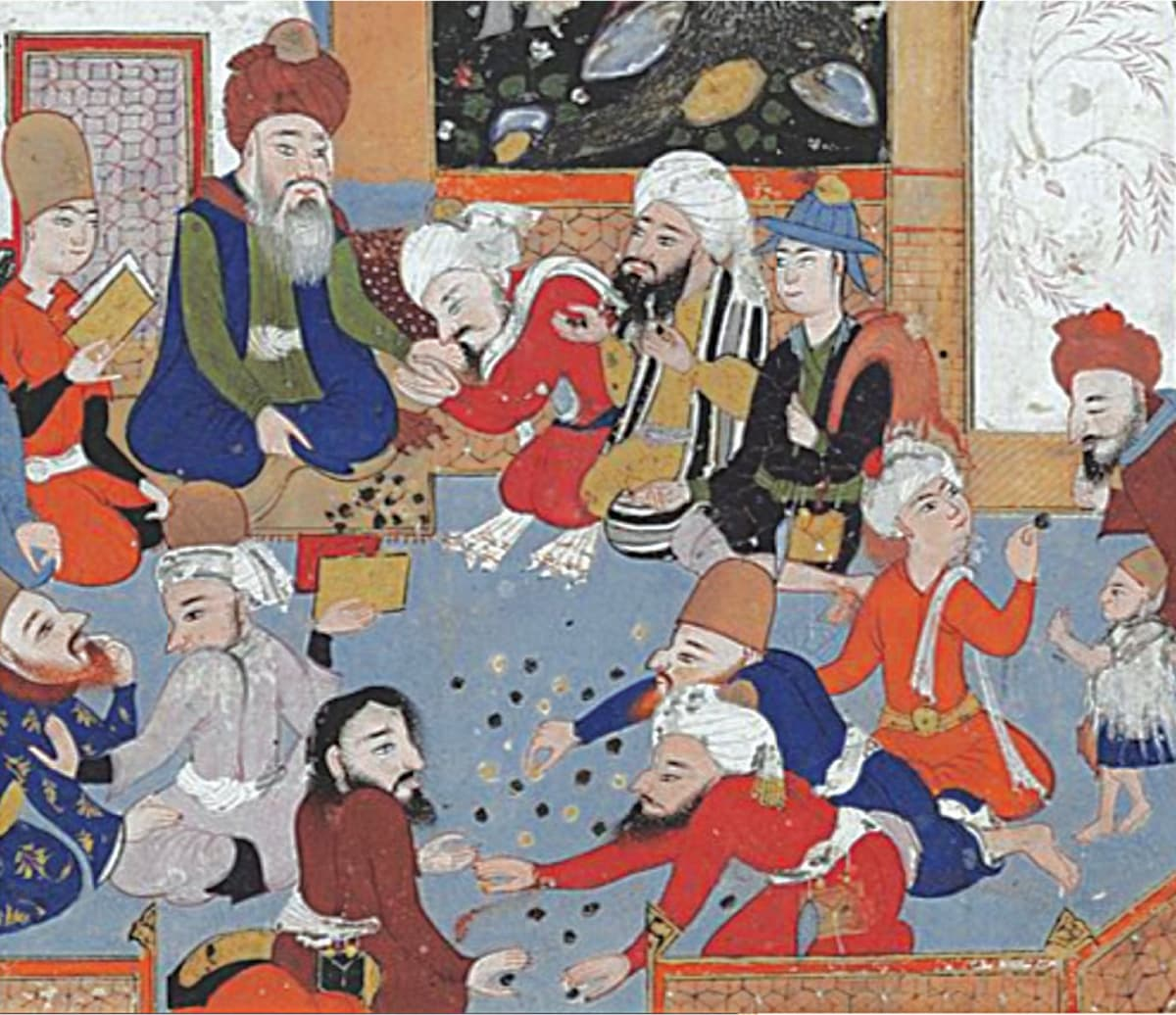 Maulana Jalaluddin Rumi distributing sweetmeats to disciples | Courtesy Museum of Fine Arts, Boston