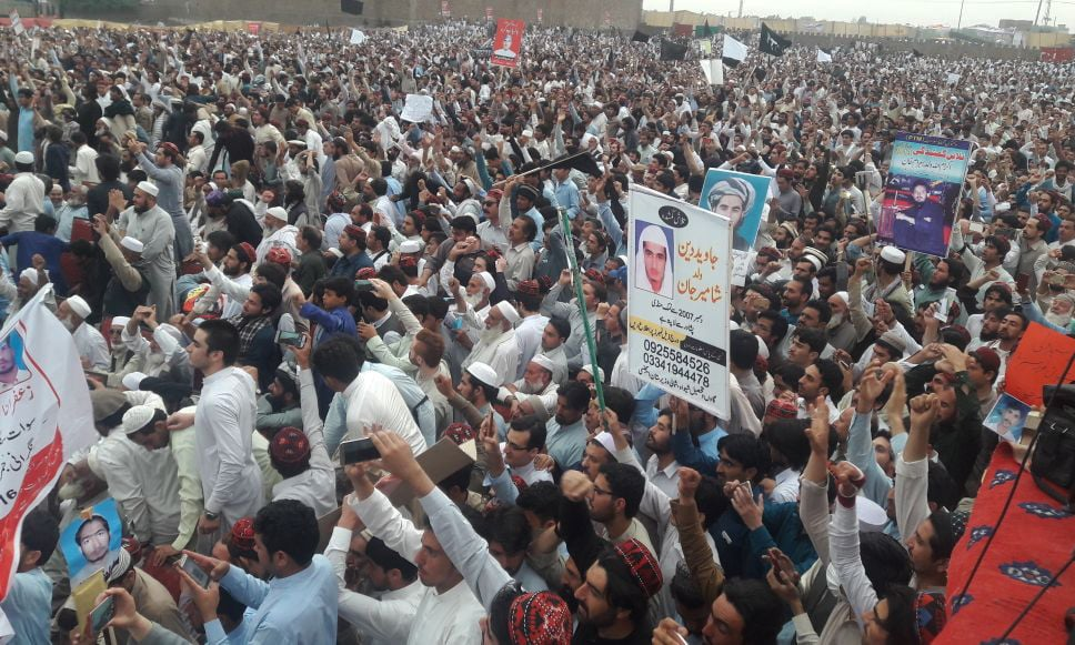 A view of the Pakhtun Tahafuz Movement's (PTM) rally in Peshawar on Sunday. — Photo by Author