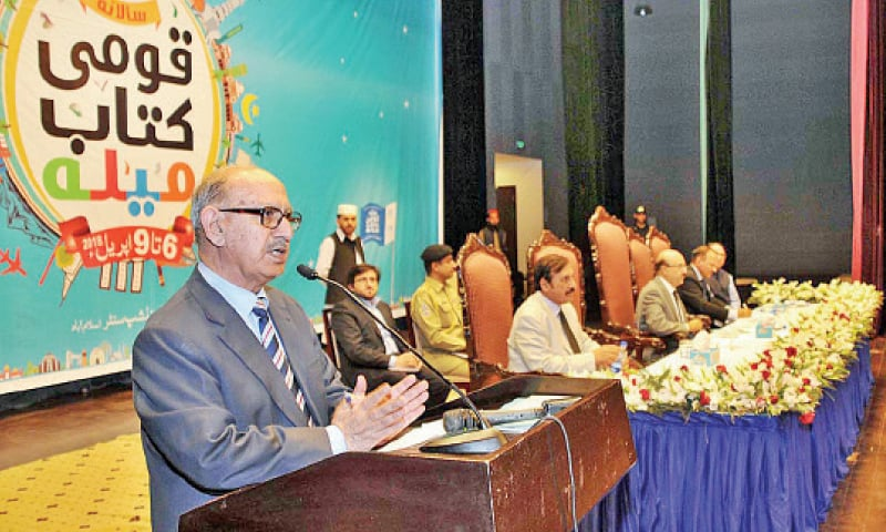 Adviser to the Prime Minister on National History and Literary Heritage Irfan Siddiqui speaks at the concluding ceremony of the National Book Festival in Islamabad on Monday. — APP