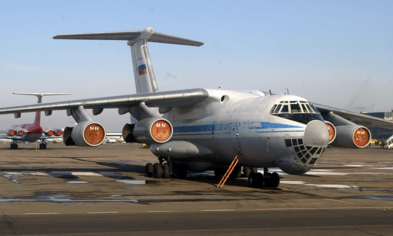 In this file photo taken on March 04, 2004 a Russian Ilyushin 76 (IL-76) plane is seen at Moscow's airport. — AFP