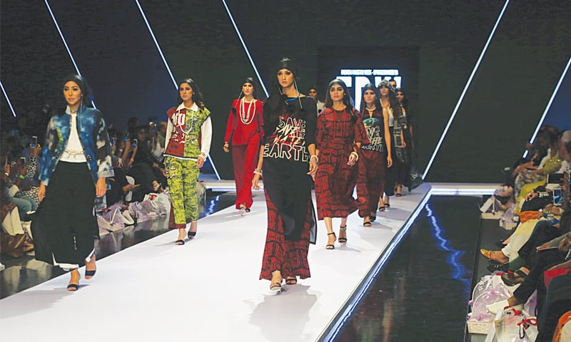 TUESDAY, day one of Fashion Pakistan Week Spring/Summer '18 opens with the models wearing Gulabo by Maheen Khan.—White Star
