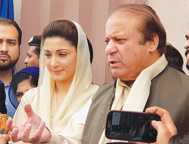 FORMER prime minister Nawaz Sharif talking to reporters outside the NAB court on Wednesday.—Tanveer Shahzad / White Star