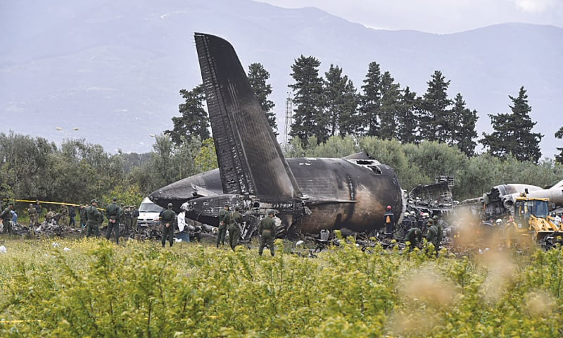 ALGIERS: The wreckage of the military plane is pictured not far from the Boufarik airbase from where it took off on Wednesday.—AFP