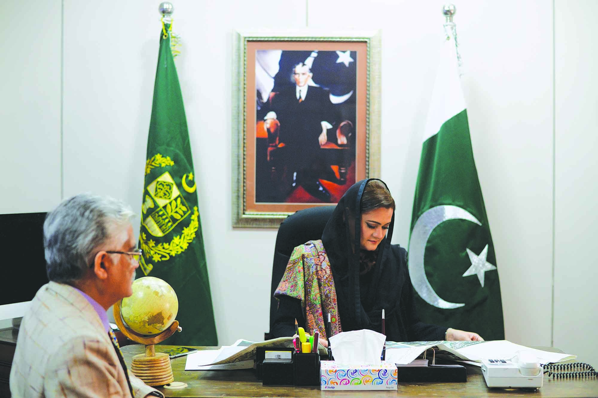 Marriyum Aurangzeb, Minister of State for Information, Broadcasting & National Heritage, reads her copy of Dawn at the Press Information Department (PID) in Islamabad. The Government of Pakistan (GOP) is the country's top advertiser across all media platforms. It is the only client which offers a 15% commission on all media placements to media buying houses. According to the Aurora Fact File, in FY 2016-17, GOP was the fourth largest advertiser in print. The Ministry of Information, Broadcasting & National Heritage disposes of a comprehensive database of rare photographs dating to 1947. Several of these photos appeared for the first time in The Dawn of Pakistan (1906-1948), a 37-episode photo-feature released by The Dawn Media Group to mark Pakistan's 70th birthday. Marriyum Aurangzeb recently announced Pakistan's first film and cultural policy. The policy formally accorded the status of an 'industry' to films and abolished the duty on the import of film equipment to incentivise local production. (photo: Arif Mahmood/ Dawn White Star)