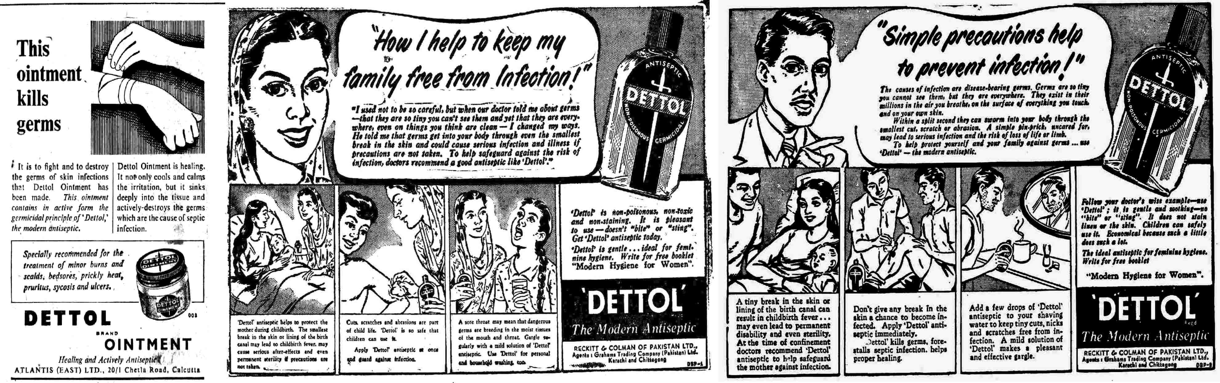 Dettol ads from 1948, 1953 and 1954