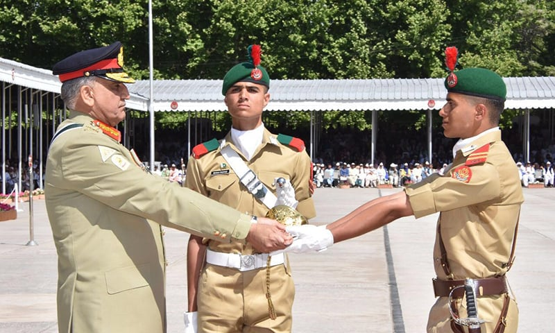 Gen Qamar Javed Bajwa confers a Sword of Honour on a cadet — ISPR