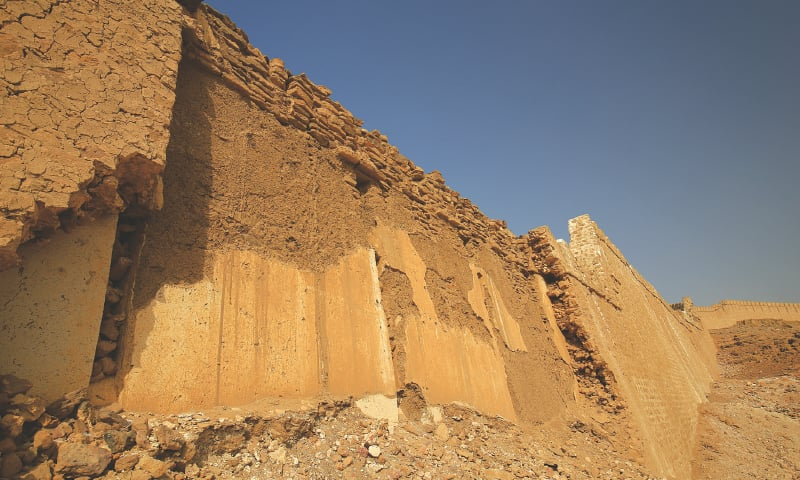 Part of the decayed Shahper (south) wall shows two older layers beneath Talpur period masonry