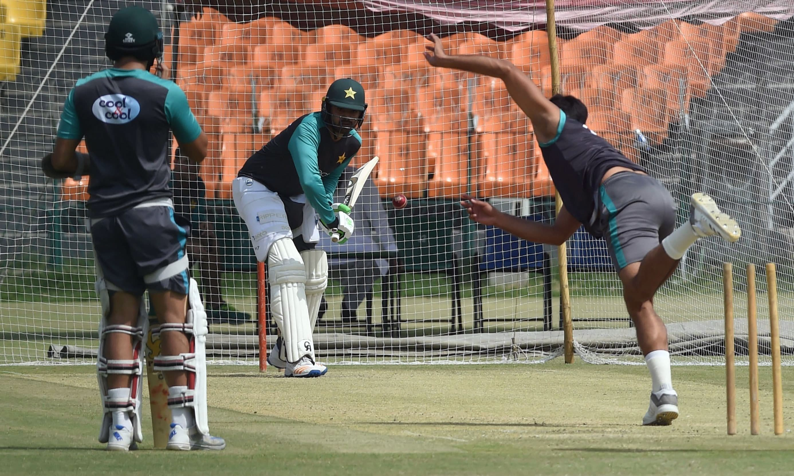 Arif Sohail plays a shot during a practice session in Lahore. —AFP