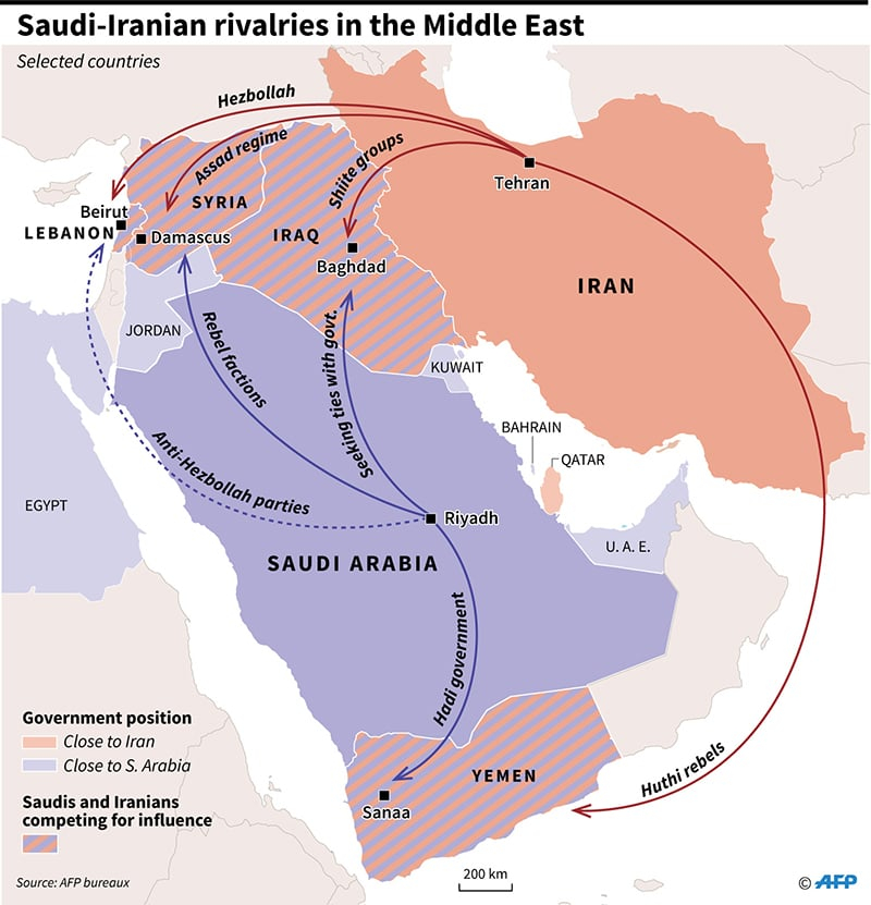 Saudi-Iranian rivalries in the Middle East. —AFP