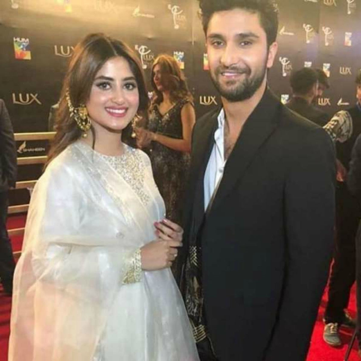 Sajal with her Yakeen Ka Safar costar Ahad Raza Mir at LSA 2018