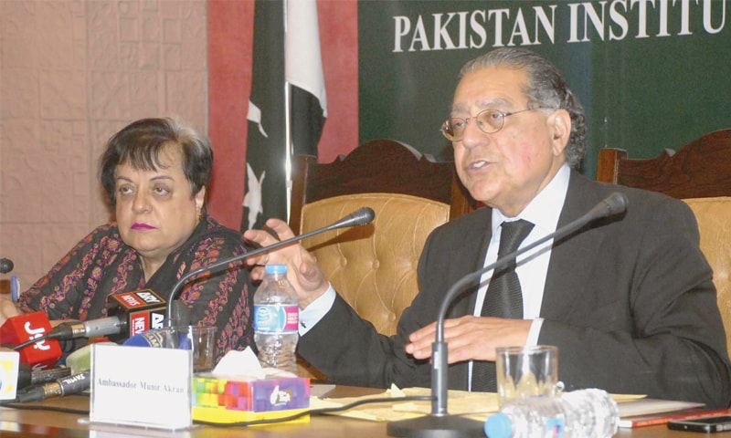 Pakistan's former ambassador to the UN Munir Akram speaks at the seminar.—Online