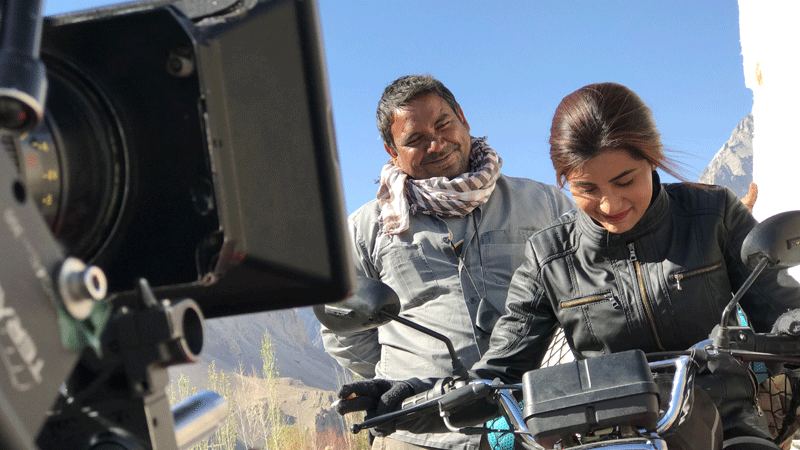 Sohai getting a hang of her bike during the shoot.