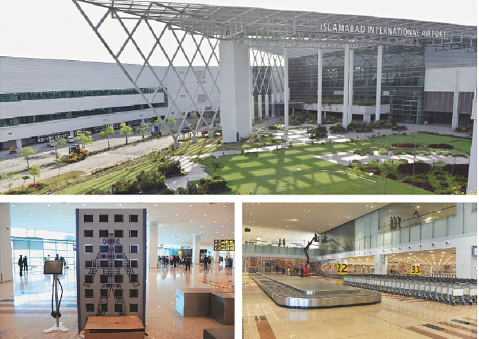 THE entrance of the new Islamabad International Airport (top) which is scheduled to open on May 3. (Bottom left) A full-body scanner. The new airport's baggage claim section (bottom right).—White Star/Reuters
