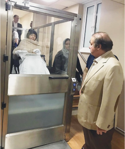 FORMER prime minister Nawaz Sharif sees Begum Kulsoom receive medical treatment at a London hospital.—INP