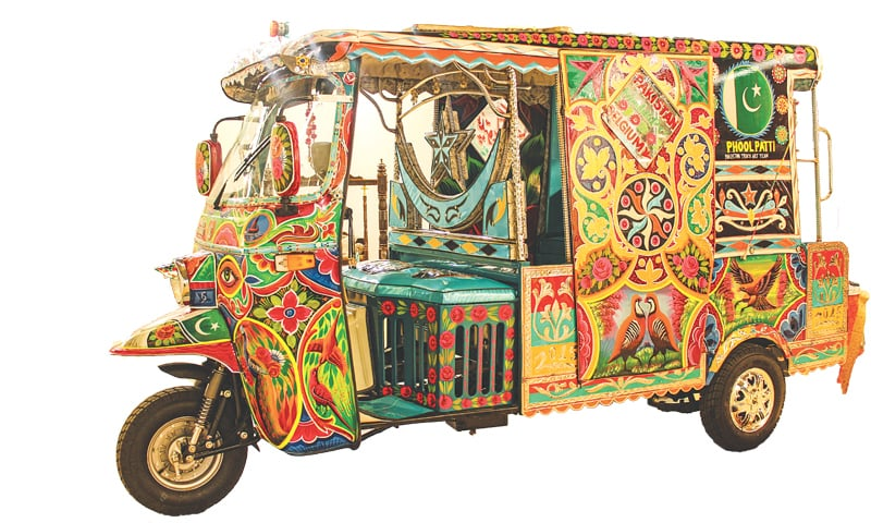 The extended Pakistani rickshaw limousine in all its decorated glory stands at a trade exhibition in Belgium