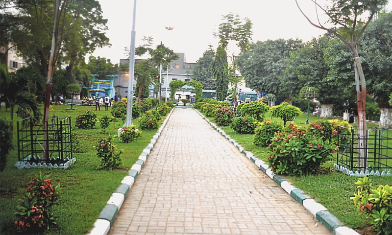 A park in the middle-income locality of Allama Iqbal Road