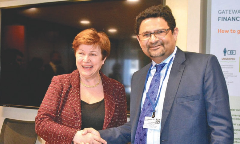 WASHINGTON: Adviser to Prime Minister on Finance Miftah Ismail with Chief Executive Officer of the World Bank Kristalina Georgieva during a meeting.—APP