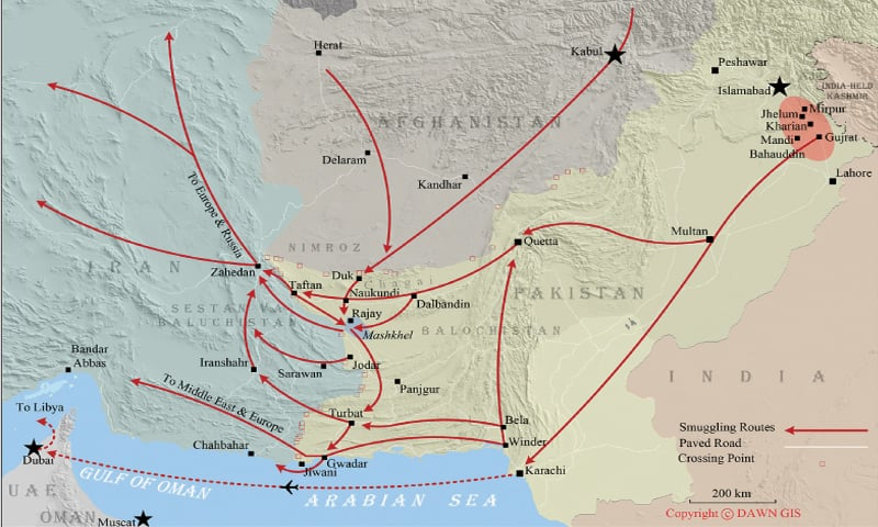 SOME of the many routes that illegal migrants take through Balochistan to reach various countries.