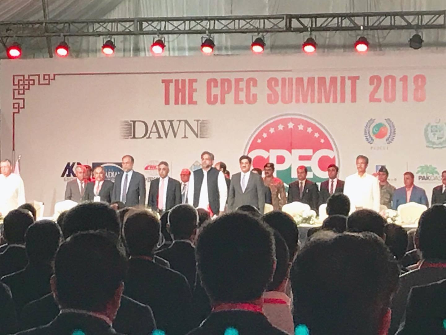 PM Abbasi, Sindh CM Shah, Minister Ahsan Iqbal and Chinese Ambassador Yao Jing at the first day of CPEC Summit. — DawnNewsTV