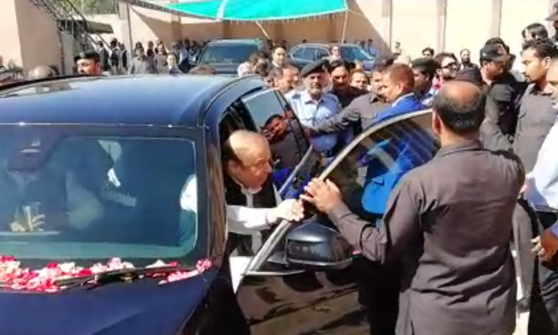 Former prime minister Nawaz Sharif arrives at the accountability court in Islamabad on Monday. — DawnNewsTV