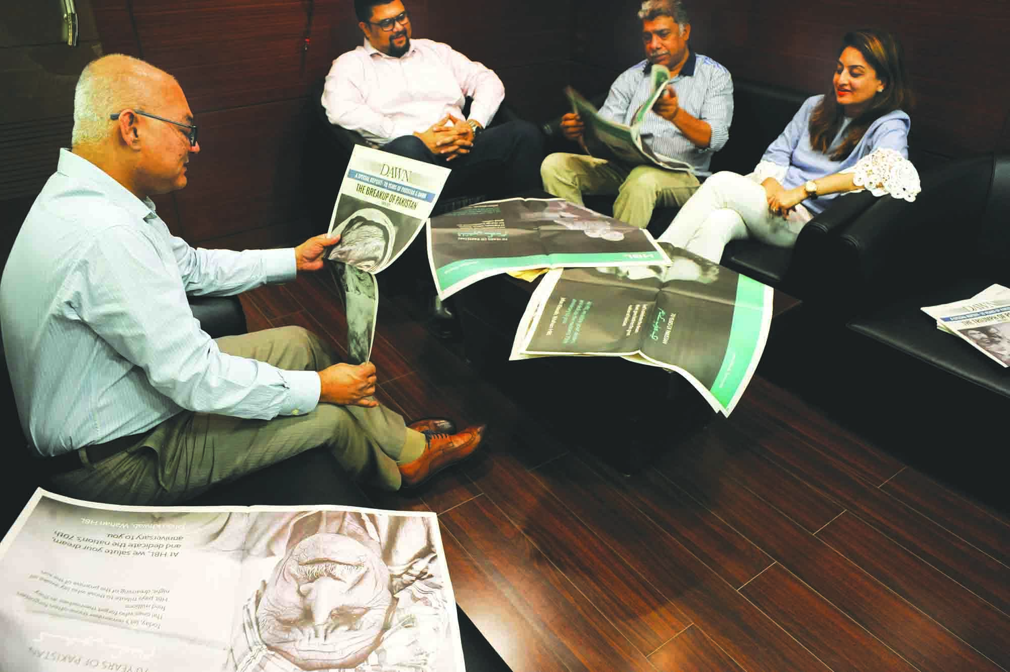 Fouad Husain (left) CEO, GroupM, and Kiran Khan (right) Chief Strategy Officer, GroupM, study the advertisements they have released on behalf of their client HBL. This series of advertisements released by GroupM were contained in 16 Special Reports of 70 Years of Pakistan & DAWN, published by The Dawn Media Group between August 19 and December 25, 2017. The Special Reports were the second instalment of The Dawn Media Group's tribute to 70 years of Pakistan. GroupM is a leading global media investment management company for WPP media agencies, which include Mindshare, Wavemaker, Mediacom and M/six and Xaxis. The first media buying house to open in Pakistan was Pak Mediacom in 1996, followed by Mindshare in 1999. In 2008, consolidation took place under the GroupM banner and included Maxus, Media Edge and Mindshare. In Pakistan, GroupM contributes approximately a 40% share to the industry as a traditional media agency, and a 50% share as a digital agency. (photo: Arif Mahmood/ Dawn White Star)
