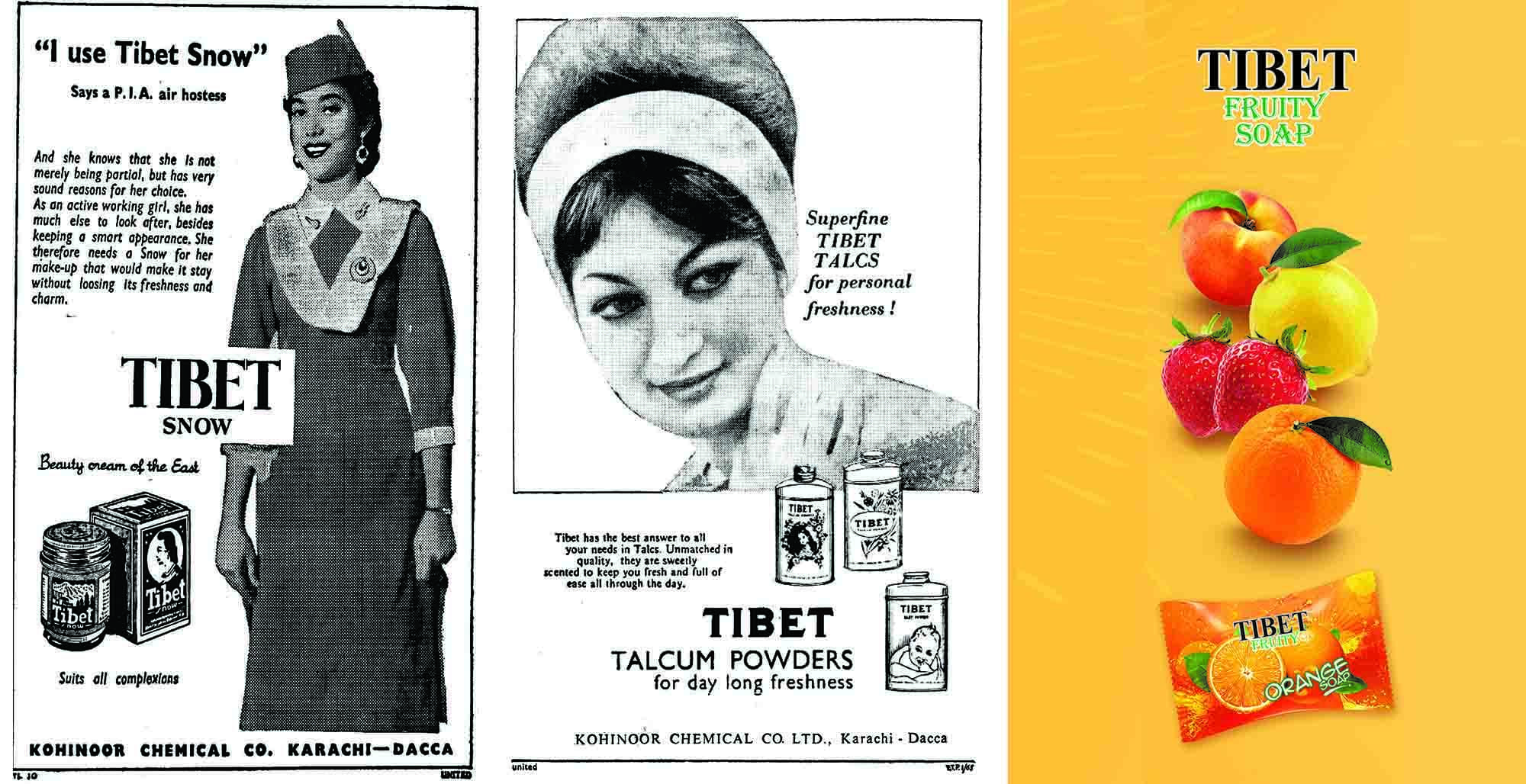 Ads for Tibet Snow, Tibet Talcum Powders and Tibet Soap from 1956, 1965 and 2018 respectively.