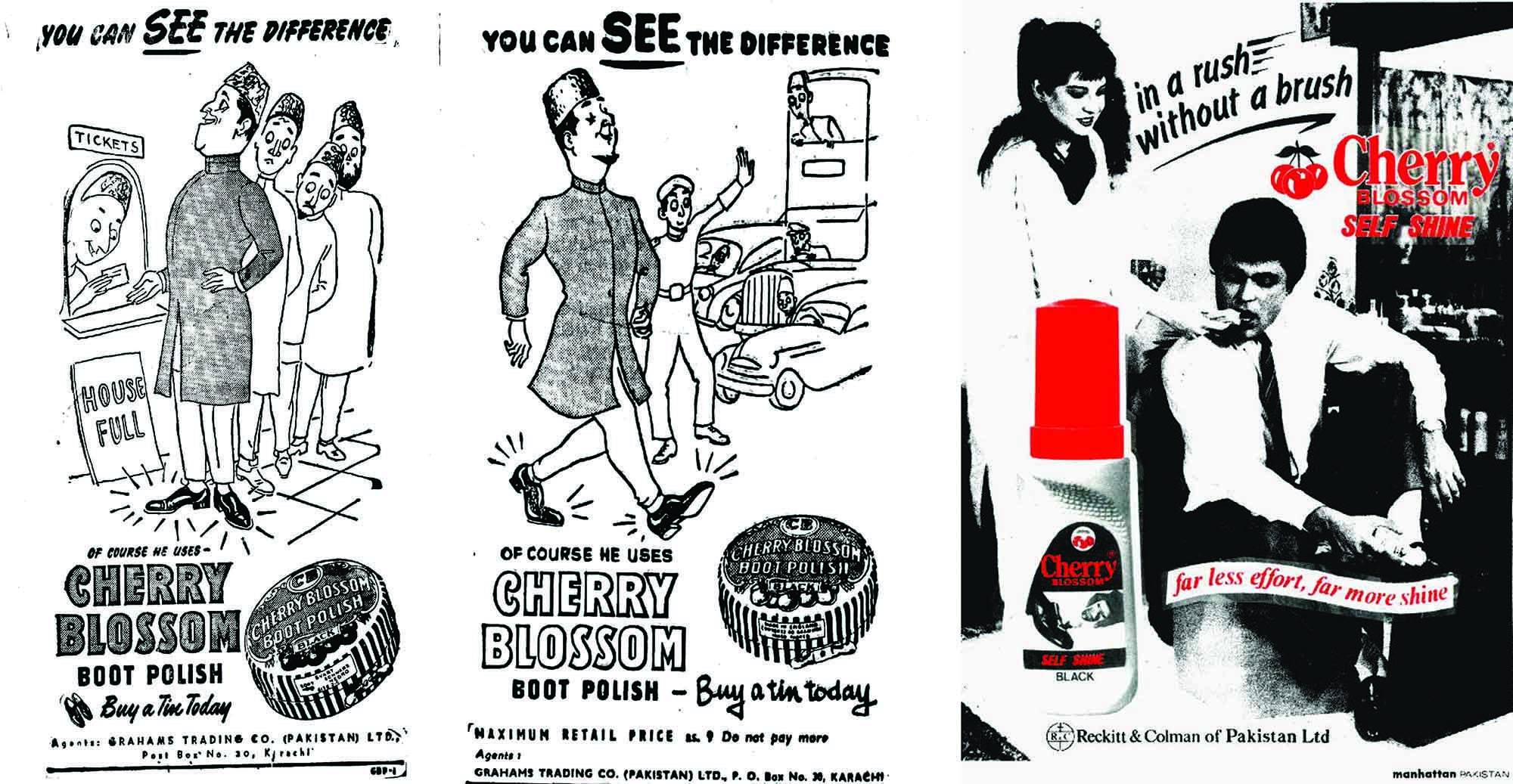 Cherry Blossom ads from 1952, 1953 and 1989