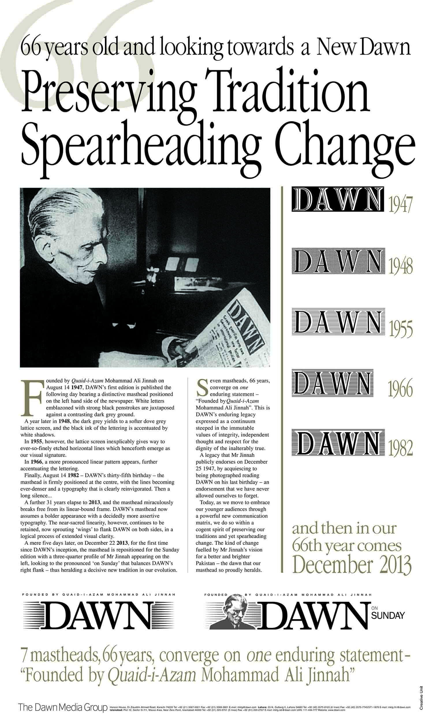 Dawn: Preserving Heritage, Spearheading Change - Winner of the PAS Award in the Best in Media Category (2014)