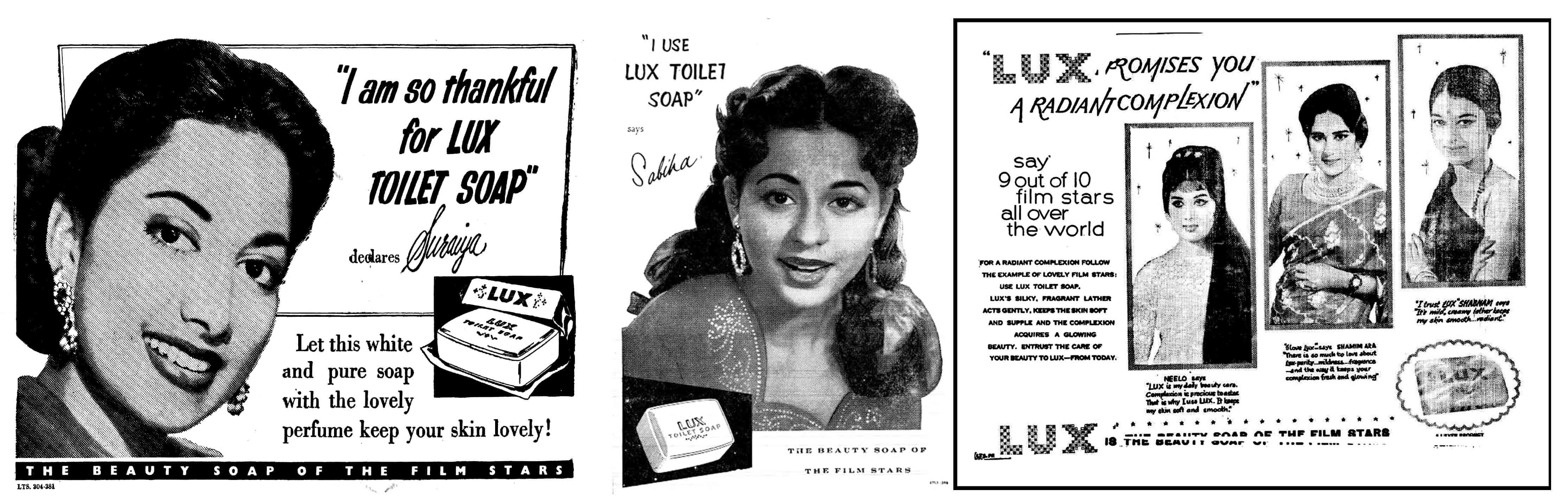 Lux ads in 1951, 1956 and 1964