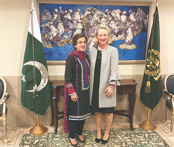 FOREIGN Secretary Tehmina Janjua receives Ambassador Alice Wells for a call at the Foreign Office on Monday.
