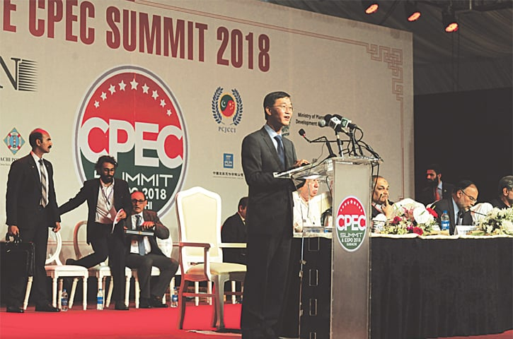 China's Ambassador to Pakistan Yao Jing addresses the CPEC Summit on Monday.—White Star