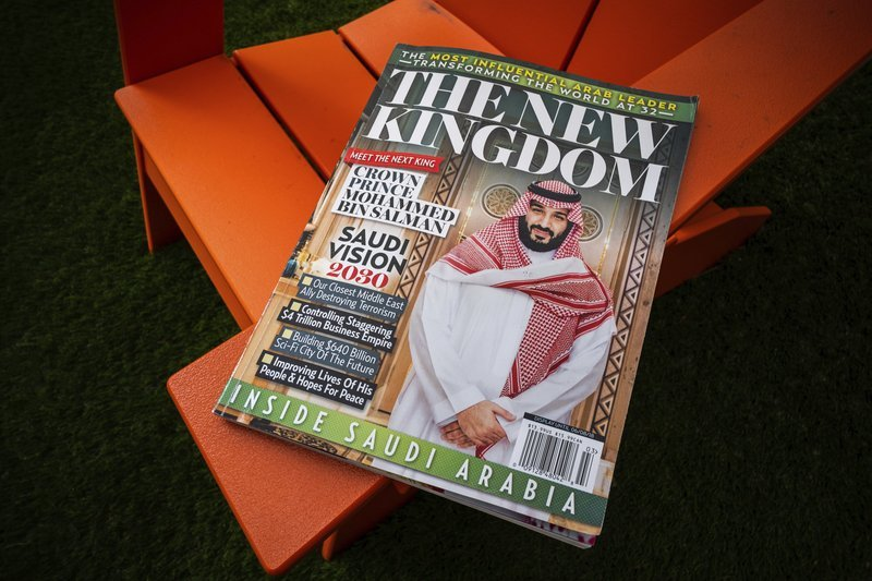A glossy magazine about Saudi Arabia is photographed in Washington on Monday. — AP