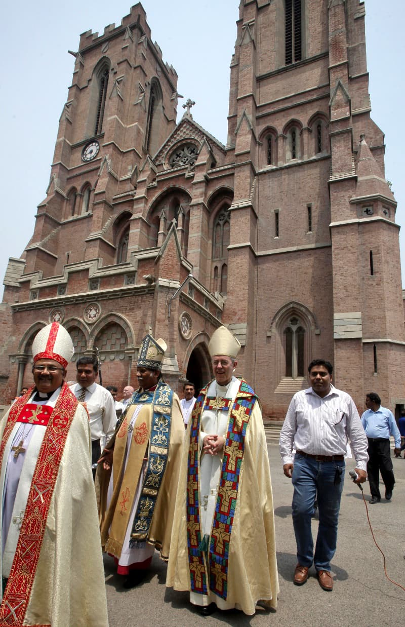 The Archbishop of Canterbury (second from right), the most senior bishop of the Church of England, and others at the Anglican cathedral in Lahore in 2014. —Reuters