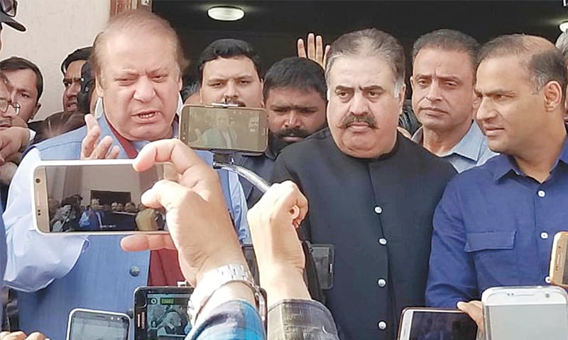 FORMER prime minister Nawaz Sharif speaks to media after his hearing at the accountability court on Wednesday.—Online