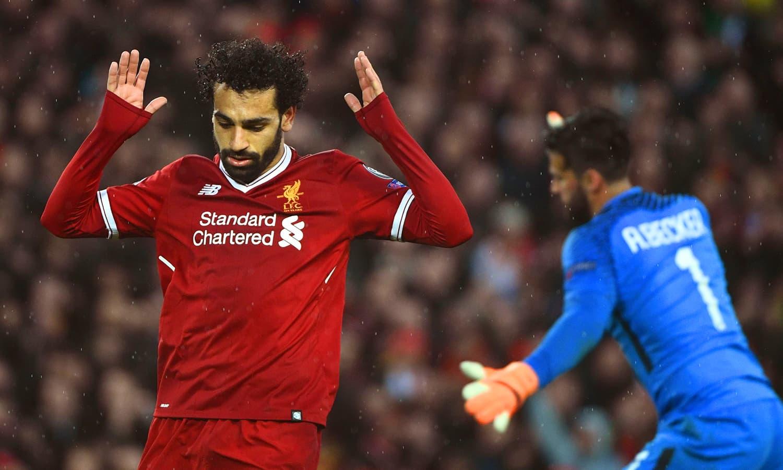 مصر سے تعلق رکھنے والے لیورپول کے اسٹار فٹبالر محمد صلاح— فوٹو: اے ایف پی