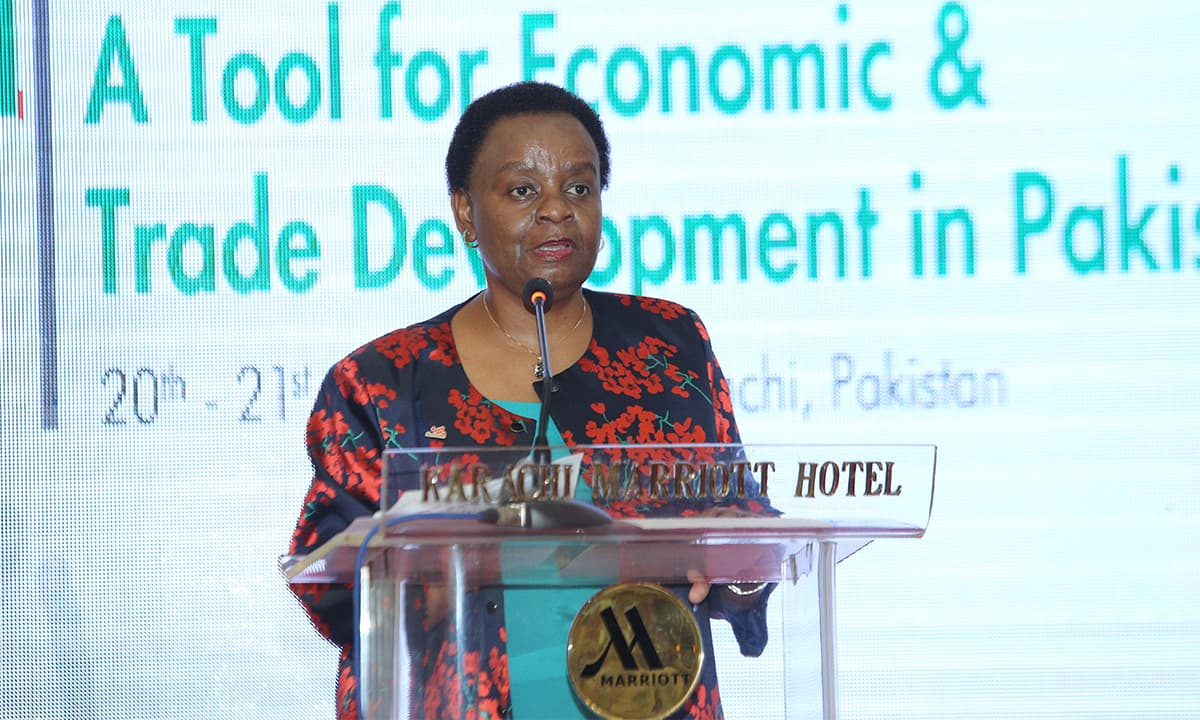 Deputy Executive Director of the International Trade Centre in Geneva, Dorothy Tembo, at the 'Closing the Gender Gap - A Tool for Economic and Trade Development in Pakistan' conference in Karachi | Photo by New World Concepts