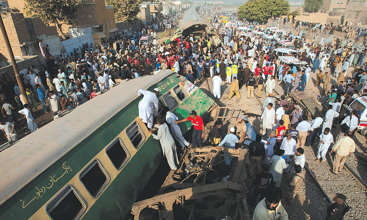The wreckage of a train collision near Karachi on November 3, 2016 | M Adil, White Star