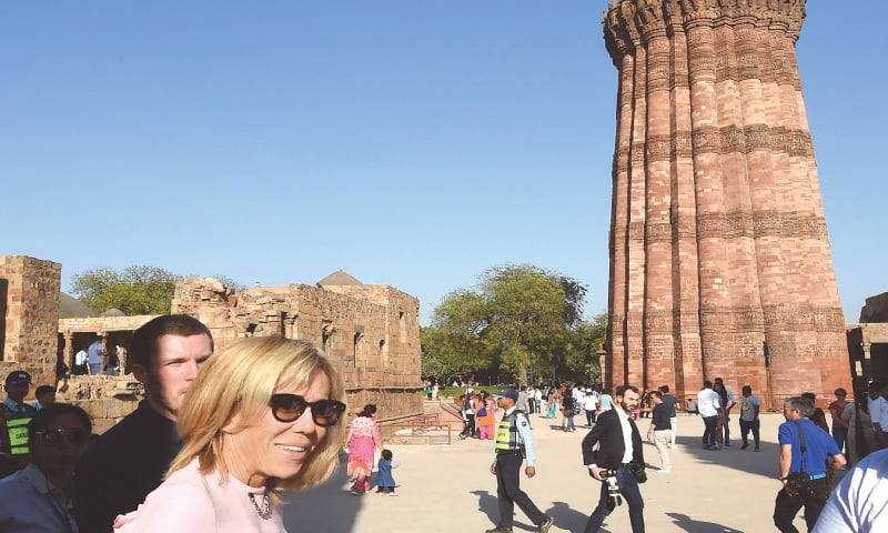 NEW DELHI: In this file photo taken on March 10, Brigitte Macron, wife of French President Emmanuel Macron, poses during her visit to the Qutub Minar, a Unesco World Heritage site.—AFP