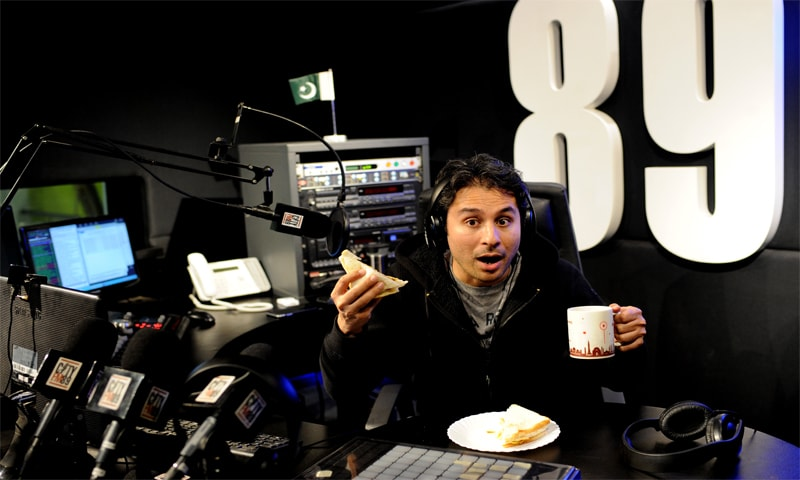 Internationally acclaimed actor, writer and stand-up comedian Saad Haroon enjoys his breakfast during a break while hosting the Breakfast Show on CityFM89. Haroon was one of the first comedians in Pakistan to perform in English. Cheeky, irreverent and witty, Haroon brings his own brand of enthusiasm to the Breakfast Show. CityFM89 is part of The Dawn Media Group and started broadcasting in 2004. It rapidly acquired a sizeable audience due to its innovative and eclectic programming. (photo: Arif Mahmood/ Dawn White Star)