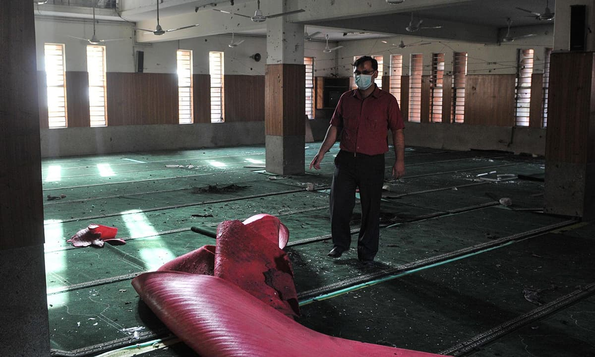 The interior of an Ahmadi prayer hall in Lahore after a terrorist attack  in 2010 | M Arif, White Star