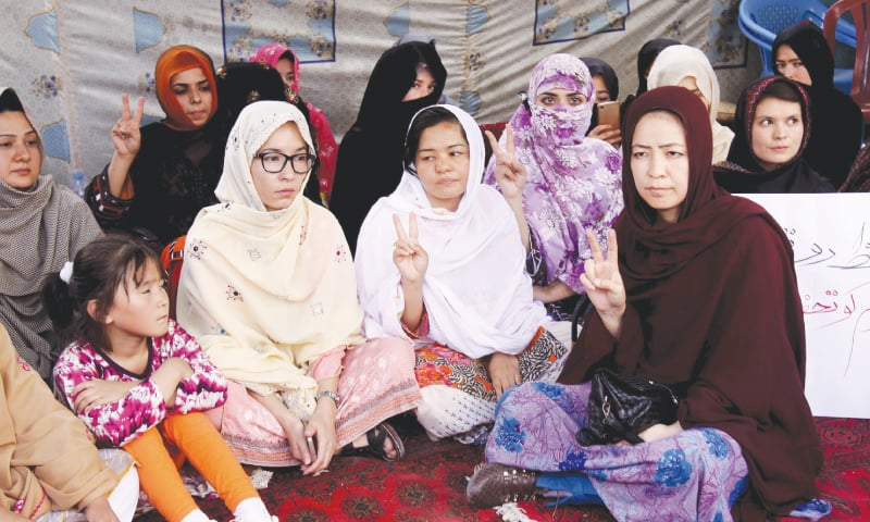 Jalila Haider at a hunger strike camp in Quetta on Monday.—AP