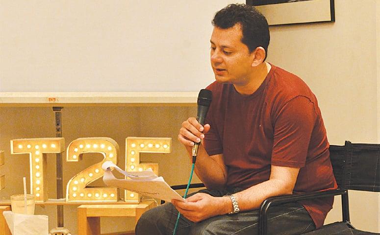 RAZA Naeem discusses Jalib at T2F on Sunday evening.—White Star